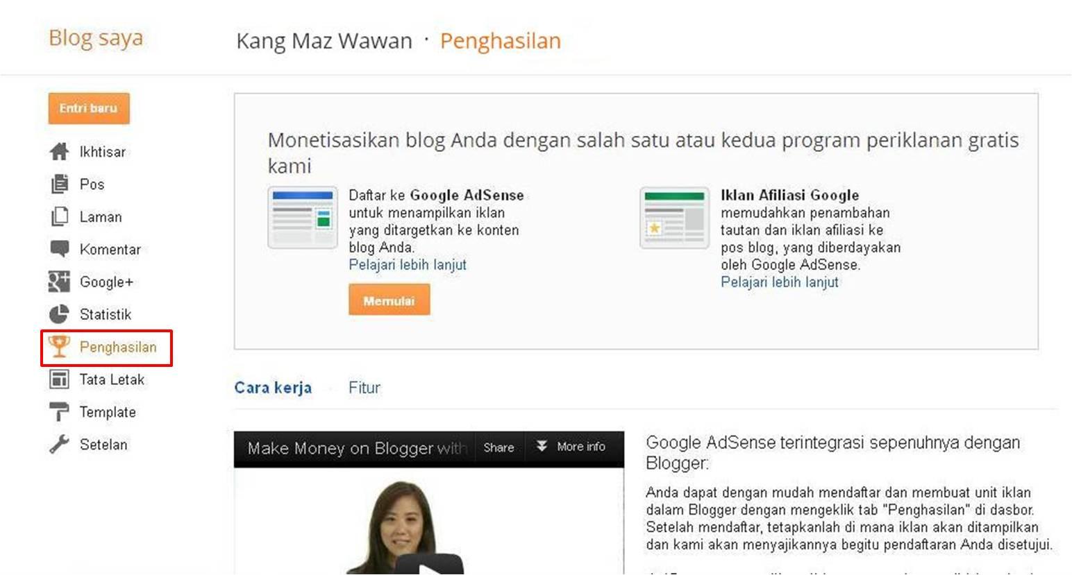 Menampilkan Menu Monetize Blogger