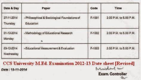 CCS University M.Ed. Examination 2011-13 Date sheet [Revised]