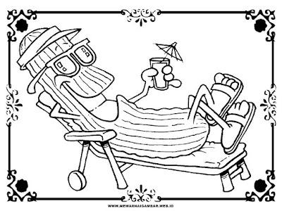 kartun gambar ketimun untuk mewarnai