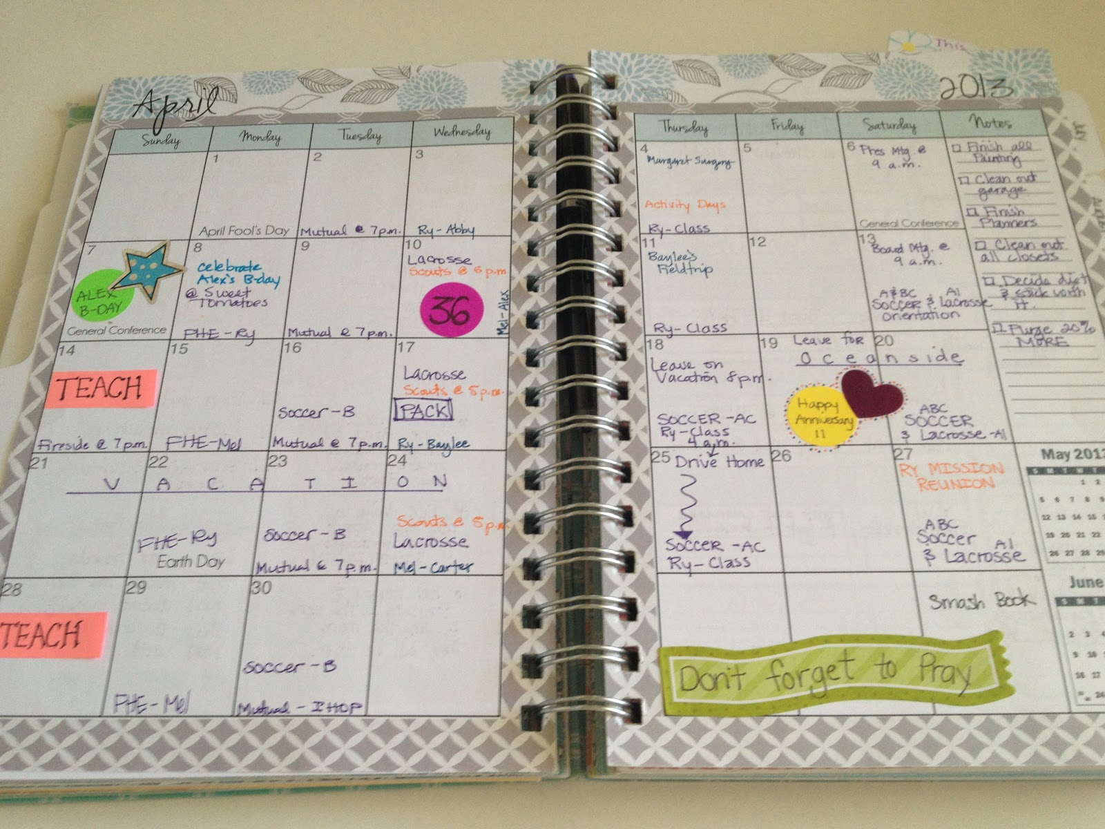 Mormon Mom Planners - Monthly Planner/Weekly Planner: Family Home ...
