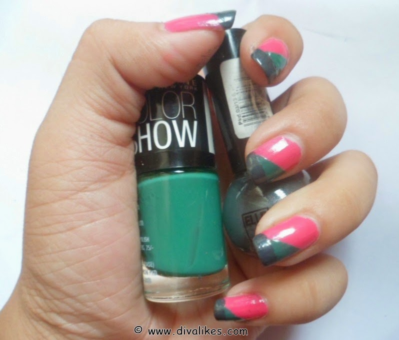 Color block nail art tutorial diva likes prinsesfo Image collections