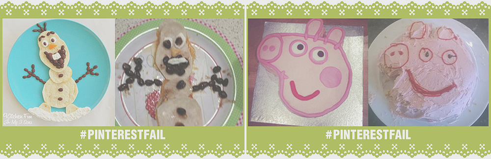 olaf pancake pinterest fail, peppa pig pinterest fail