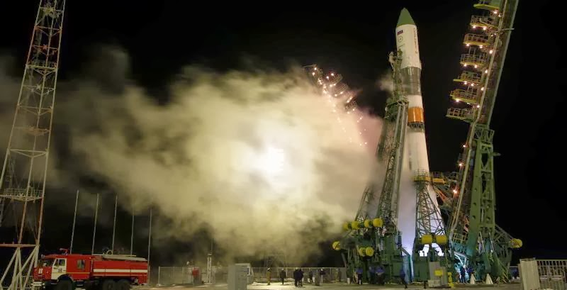 The ISS Progress 54 resupply spacecraft, loaded with 2.8 tons of cargo, launches from the Baikonur Cosmodrome in Kazakhstan at 11:23 a.m. EST Wednesday. Credit: Roscosmos