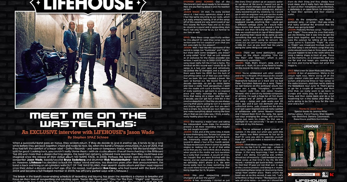 Discussions Magazine Music Blog Lifehouses Jason Wade An