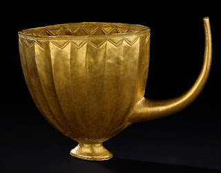 spout on a 4 500 year old golden beer mugfrom ancient mesopotamia