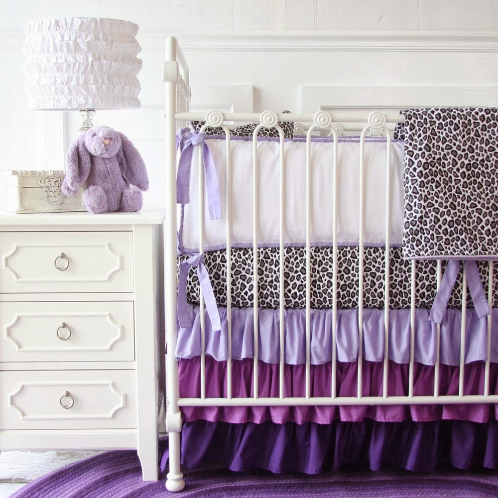 Purple Leopard Ruffle Baby Bedding