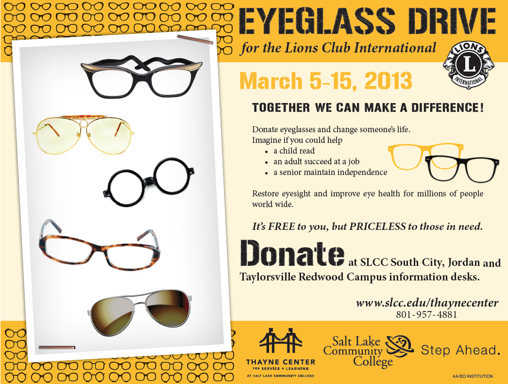 the the official slcc eyeglass drive 2013