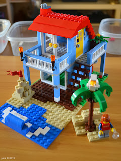 lego beach house - top floor in place