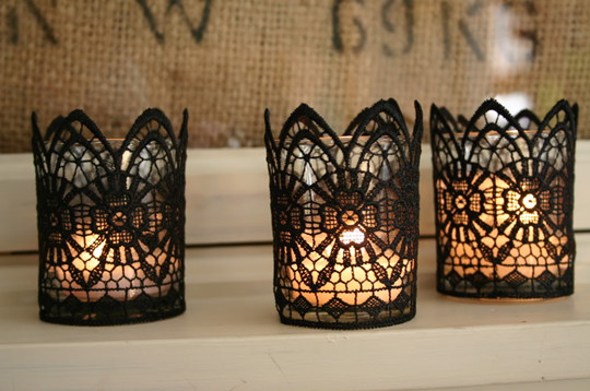diy black lace votives final for halloween wedding ideas - Halloween Wedding Table Decorations