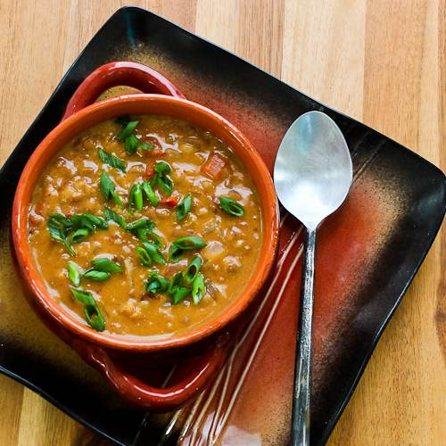 African-Inspired Vegetarian Crockpot Soup with Peanut Butter, Chiles, Brown Rice, and Lentils