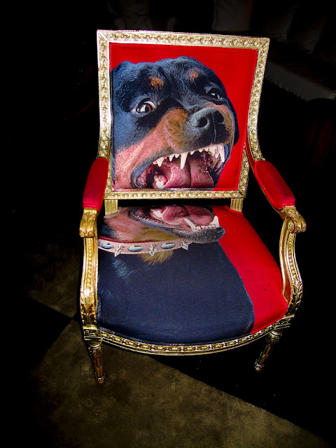 An armchair with a very large rottweiler print at the Paramount Hotel in NYC.
