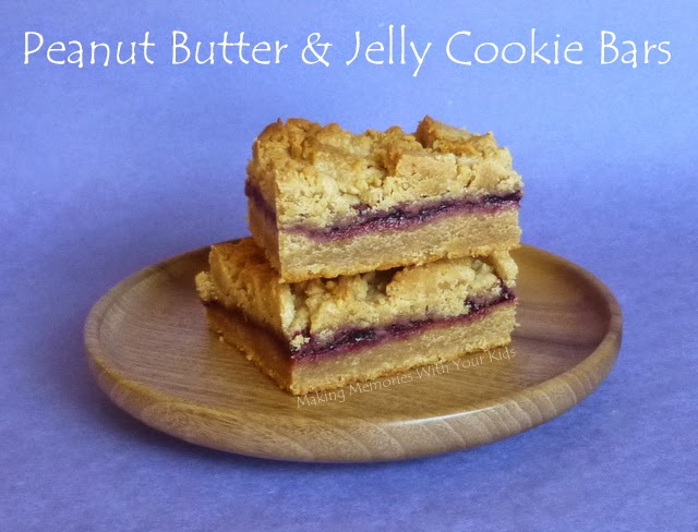 Featured Recipe: Peanut Butter & Jelly Cookie Bars from Making Memories With Your Kids #secretrecipeclub