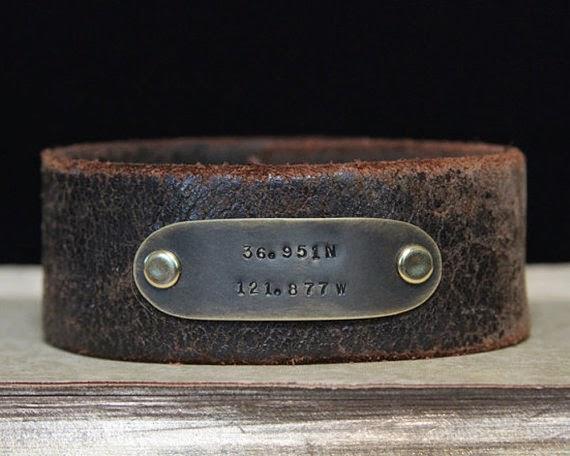 personalized longitude and latitude leather cuff bracelet