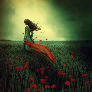 lonely girl in a grass of roses