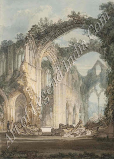 Tintern Abbey Gothic ruins made a strong appeal to Turner's romantic imagination: he painted many such views in his early career. This water-colour dates from about 1795.