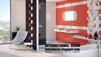 red and white bathroom wall tiles, wall tiles