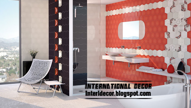 red and white bathroom wall tiles