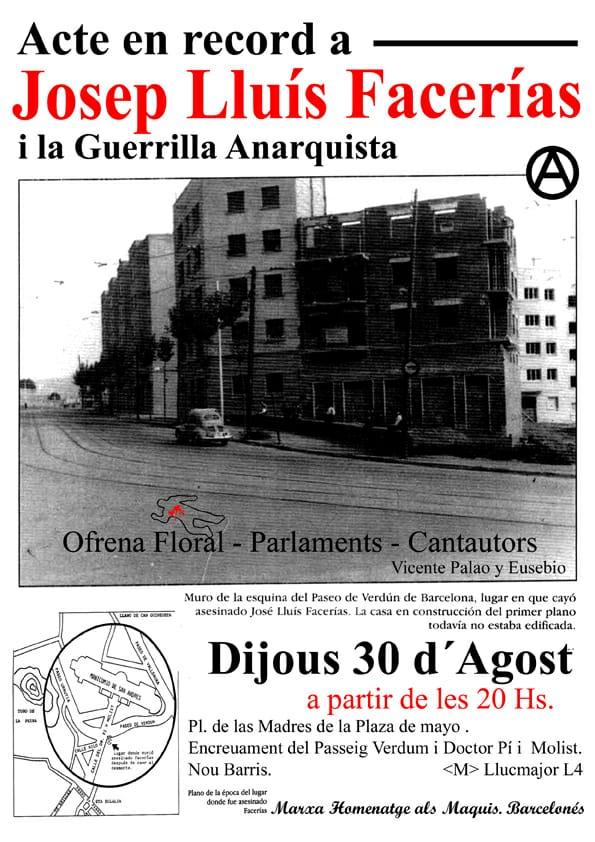 El 30 d'agost, a les 20:00h, acte en record de Josep Lluís Facerías i la guerrilla anarquista