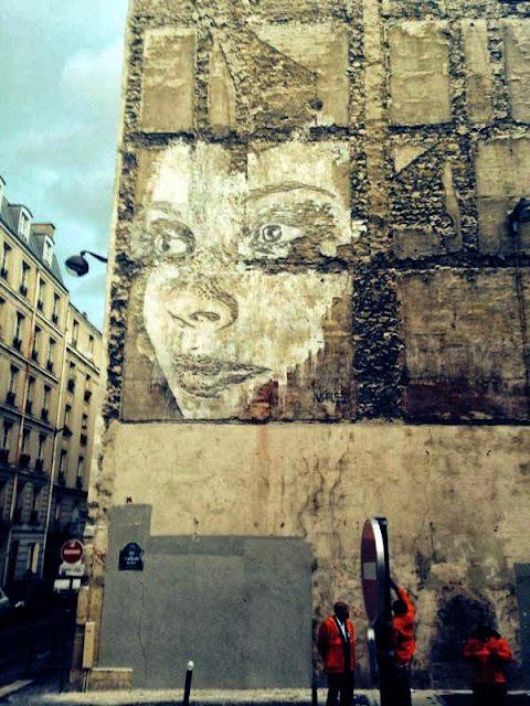 Street Art By Portuguese Artist Vhils On Rue De La Fontaine Au Roi, Paris, France. 2