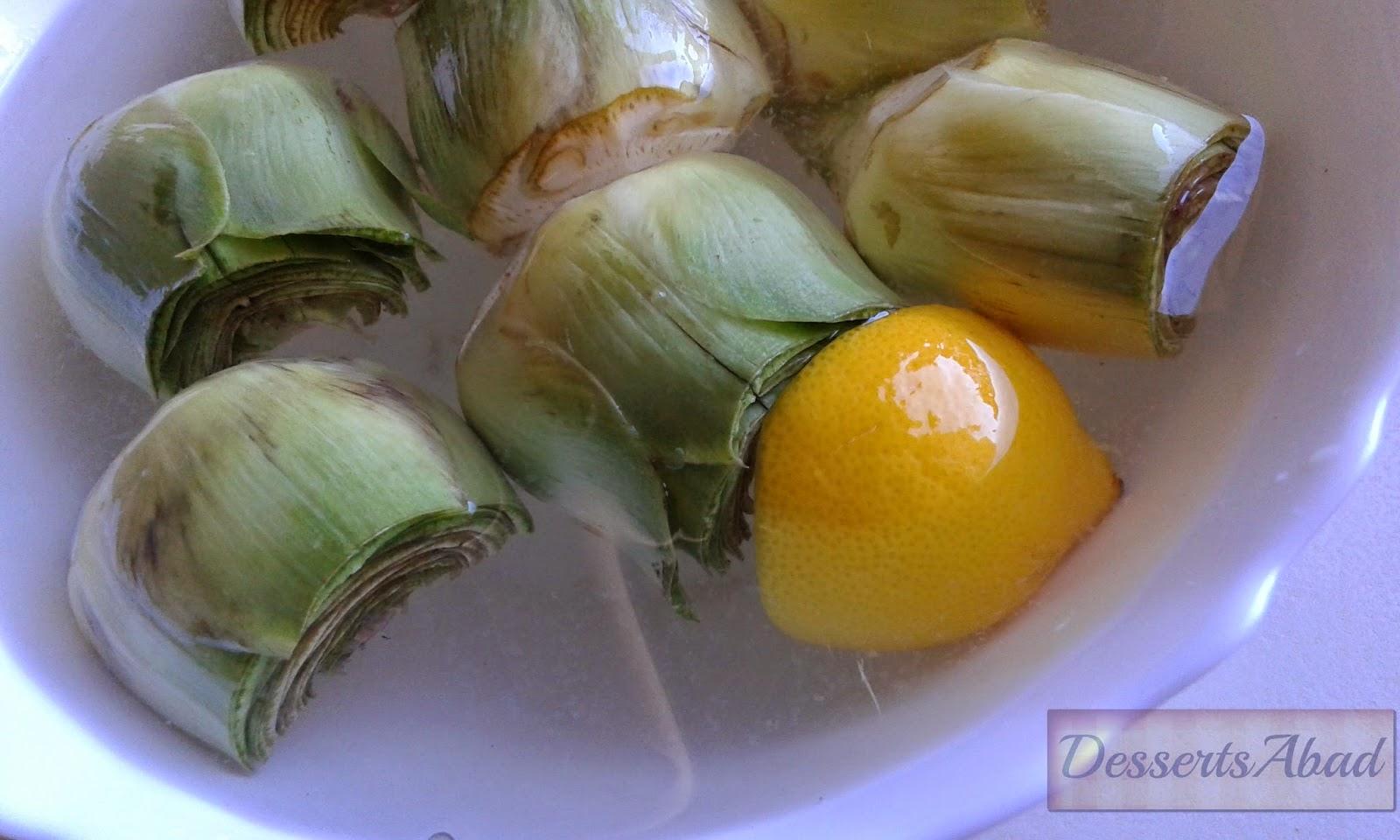 Alcachofas (en agua con limón)