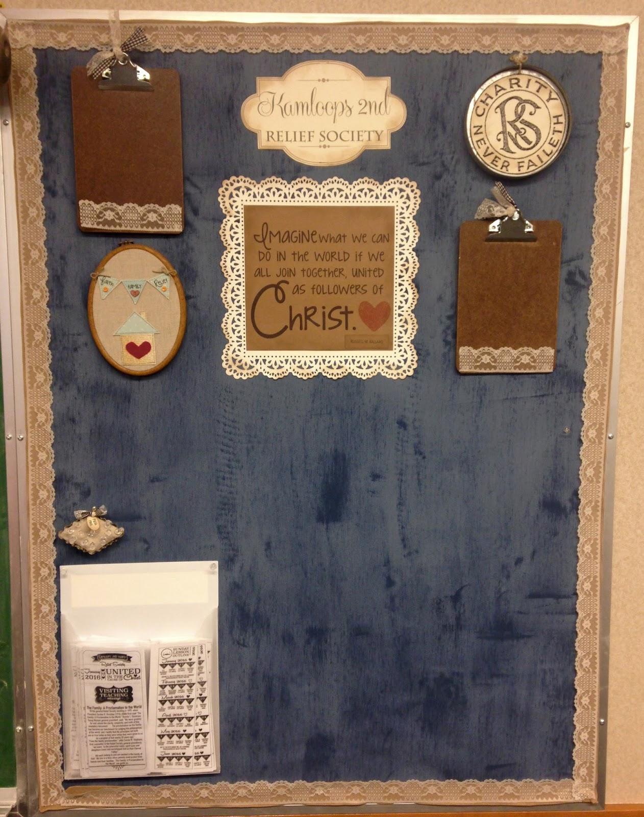 Creative try als relief society bulletin board idea for Cork board ideas