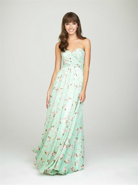 sweetheart long chiffon floral prints bridesmaid dress