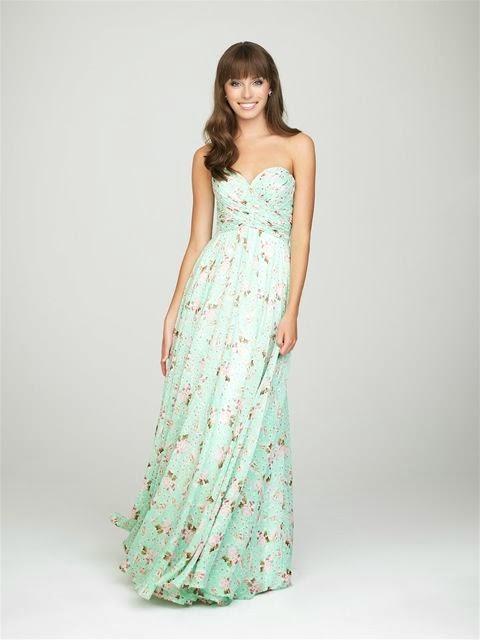 sweetheart long chiffon floral prints bridesmaid dress