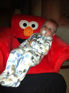 Freddie in an Elmo chair