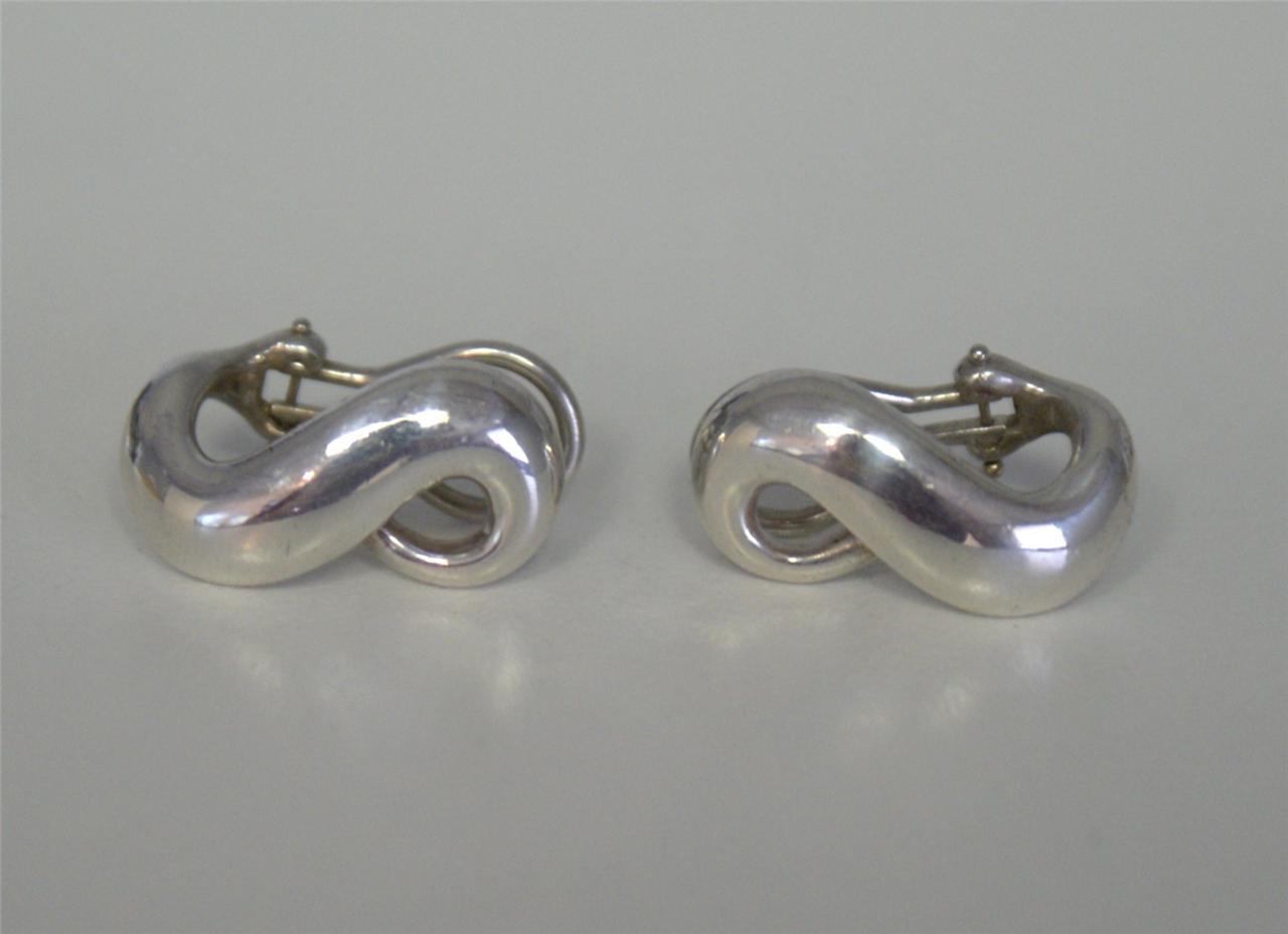 Tiffany  U0026 Co  Sterling Silver Infinity Earrings Retired