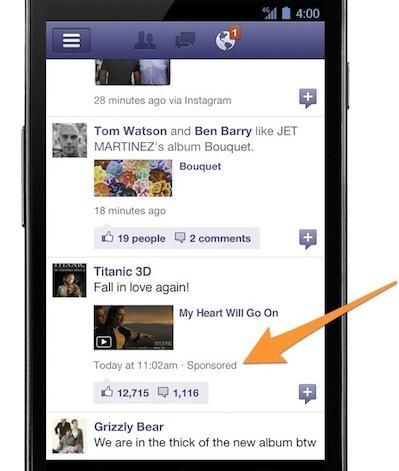 pubblicità smartphone facebook