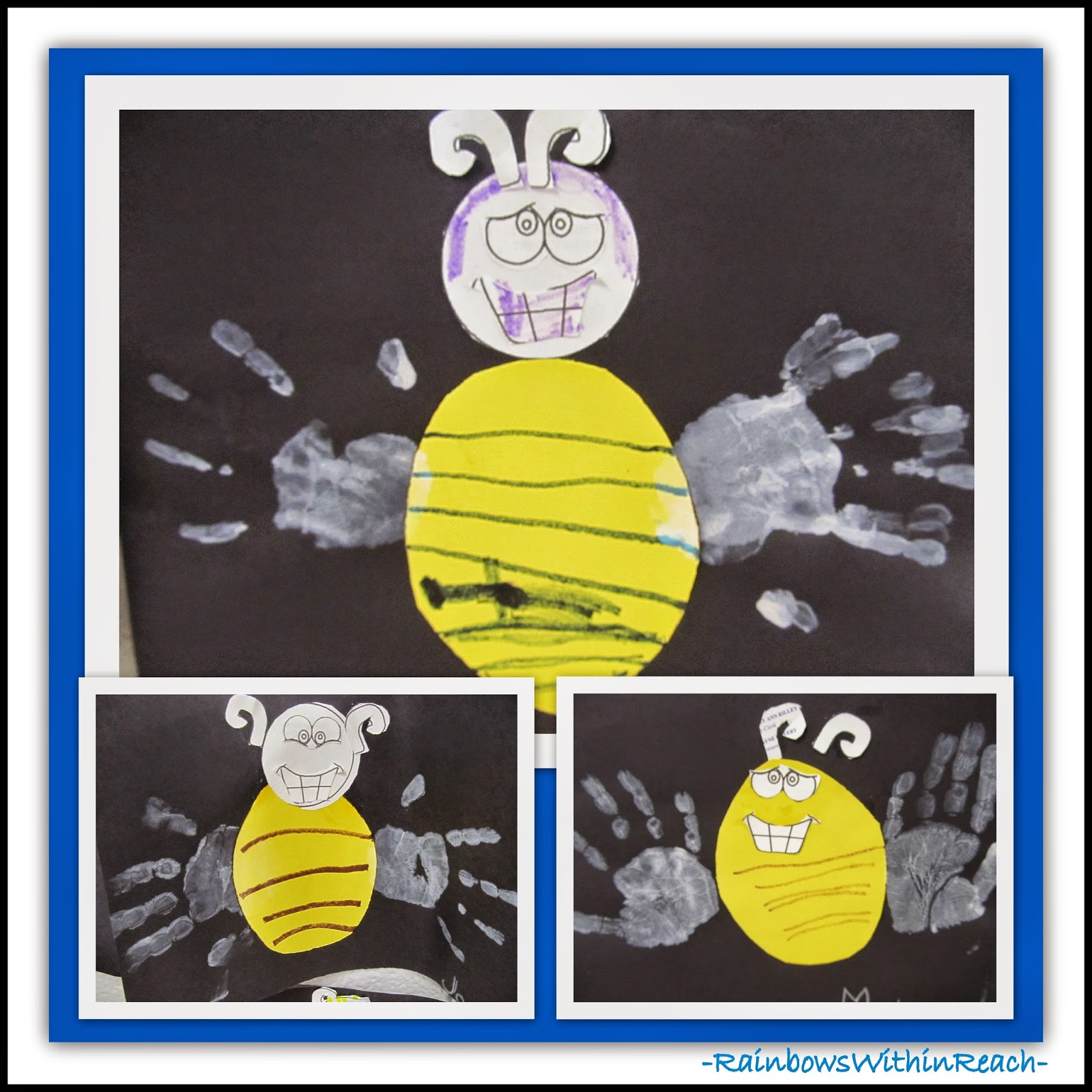 Bumble Bee with Painted Hand Prints at RainbowsWithinReach