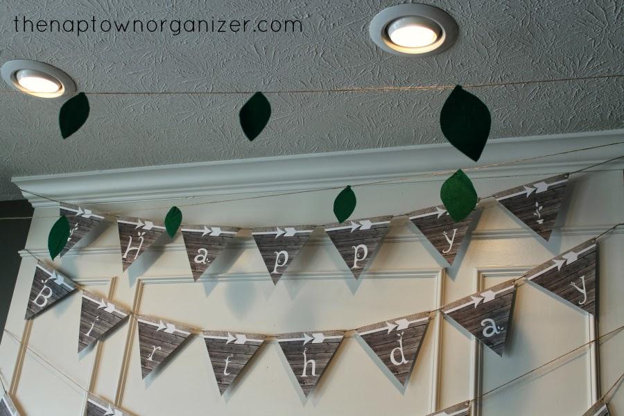 woodland birthday party leaf garland and wood / burlap / arrow bunting banner
