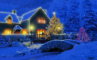 Christmas Cottage Wallpaper