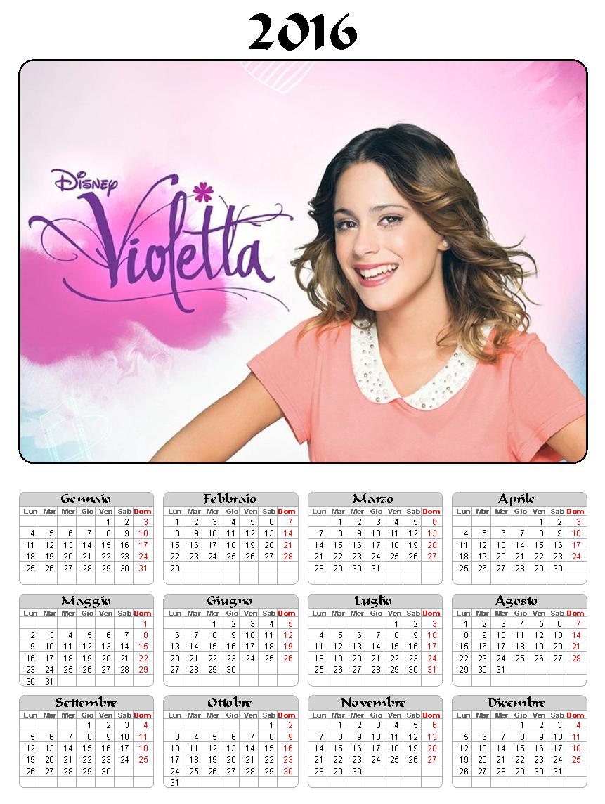 calendario 2016 - violetta