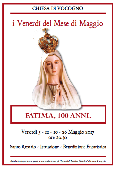 I VENERDI' DEL MESE DI MAGGIO 2017