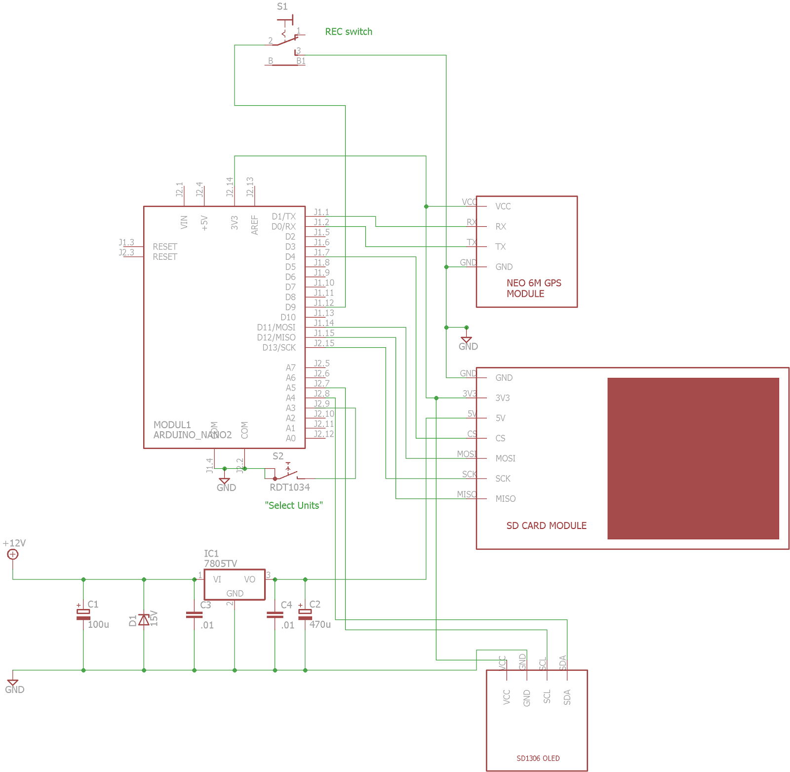 Doz Blog Arduino Fast Gps Datalogger With Switchable Units Data Logger Circuit Diagram Heres The New Schematic Showing Addition Of Select Switch And Extra Connection To Module Allow Us Set Ublox