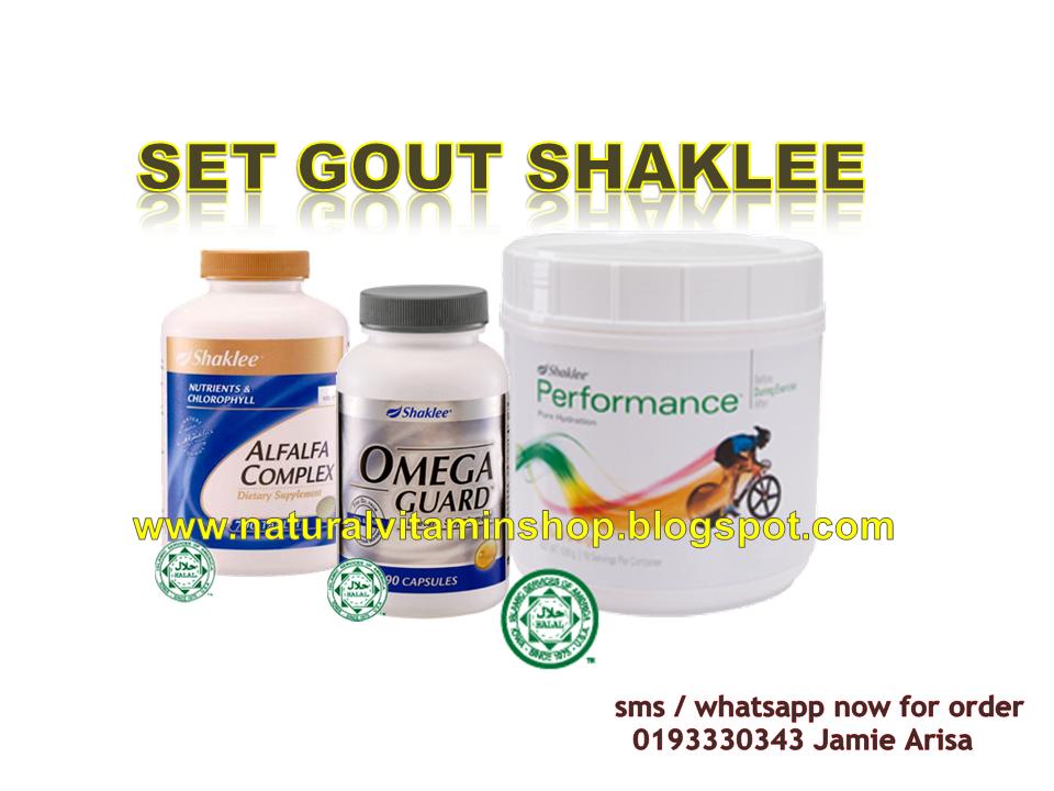 Set Gout Shaklee yang mengandungi Alfalfa, Performance Drink, Omega Guard