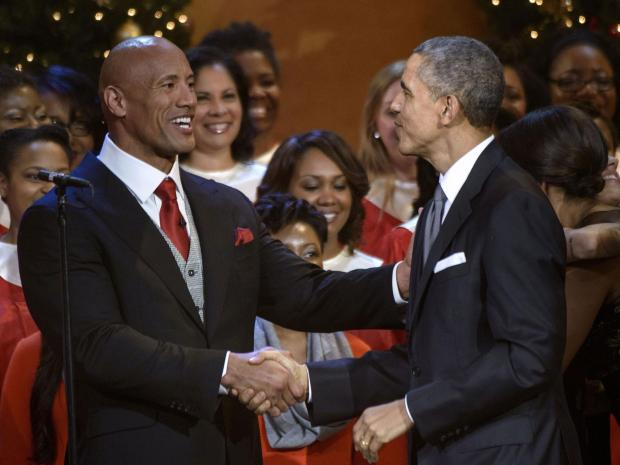 The 46th president Dwayne Rock  meets the 44th president  Barack Hussein Obam