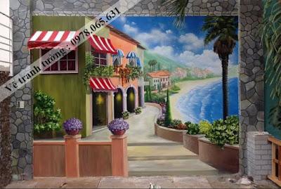 tranh tường,tranh tường cafe,tranh tường 3d,vẽ tranh tường giá rẻ,vẽ tranh tường