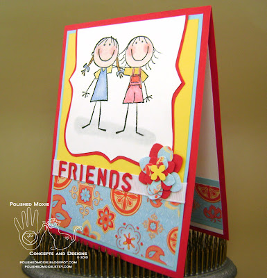 Picture of the front of my friendship card sitting at a left angle to show dimensions of the elements
