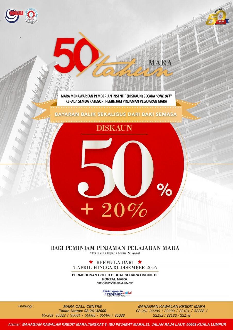 Diskaun 50% Pinjaman Pelajaran MARA!
