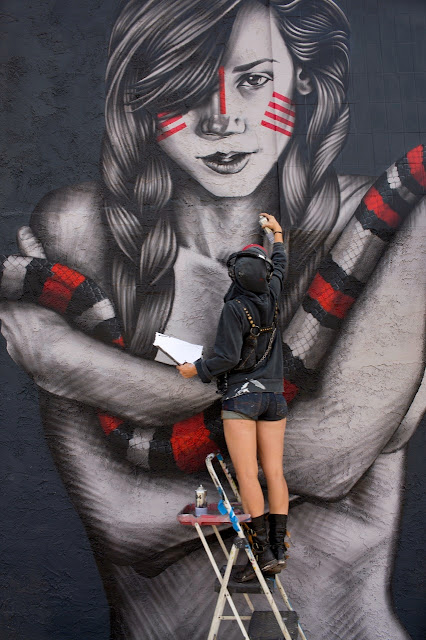 """The Mountain Charmers"" a new mural by Fin DAC and Angelina Christina on the streets of Palm Springs, USA. 3"