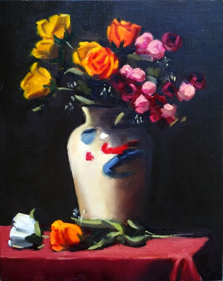 Oil painting of yellow, orange, pink and dark red plastic flowers in a white vase, all sitting on a red tablecloth with a white and an orange plastic flower at the base.