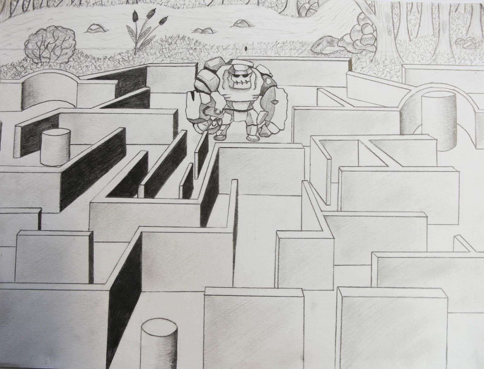 Artpla33 le labyrinthe et le dessin en perspective - Comment dessiner un meuble en perspective ...