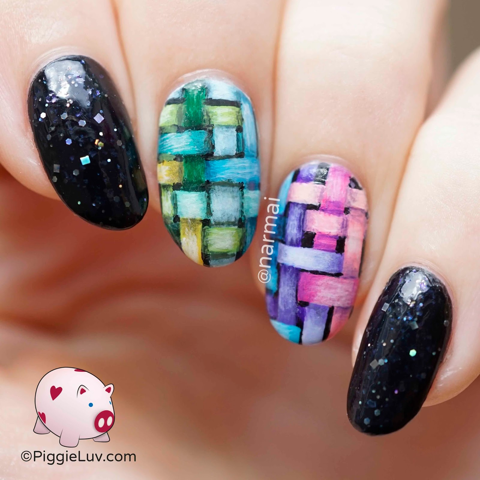 PiggieLuv: Freehand woven rainbow pattern nail art