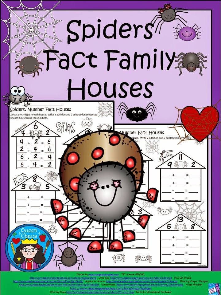 http://www.teacherspayteachers.com/Product/A-Flash-Freebie-For-FollowersSpiders-Fact-Family-Houses-1524732