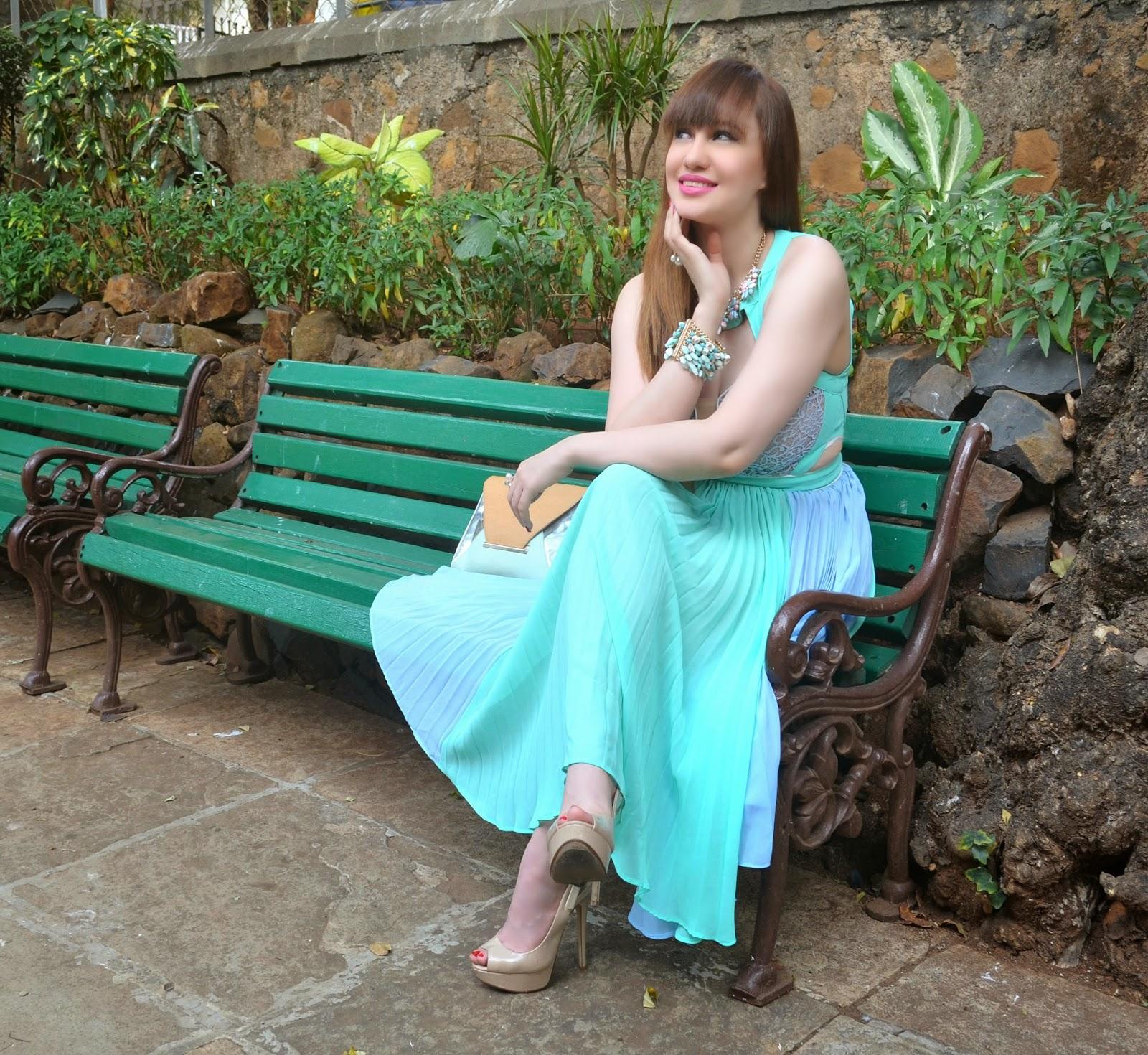 Blue Pleated Dress