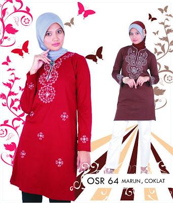 Katalog Fashion Osmoes Pakaian Wanita Muslim Maroon Coklat