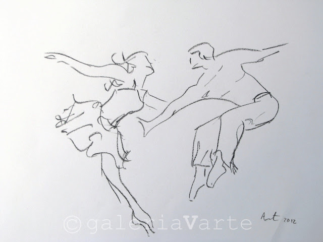 Modern dance - Original charcoal drawing by galeriaVarte
