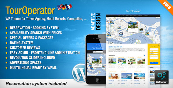 Free Download Tour Operator V3.15 WP theme with Reservation System